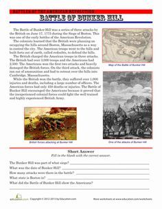 July 4th/Independence Day Memorial Day Fourth Grade History Comprehension Worksheets: The Battle of