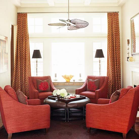 Decorating in red conversation area room and living rooms for Living room conversations
