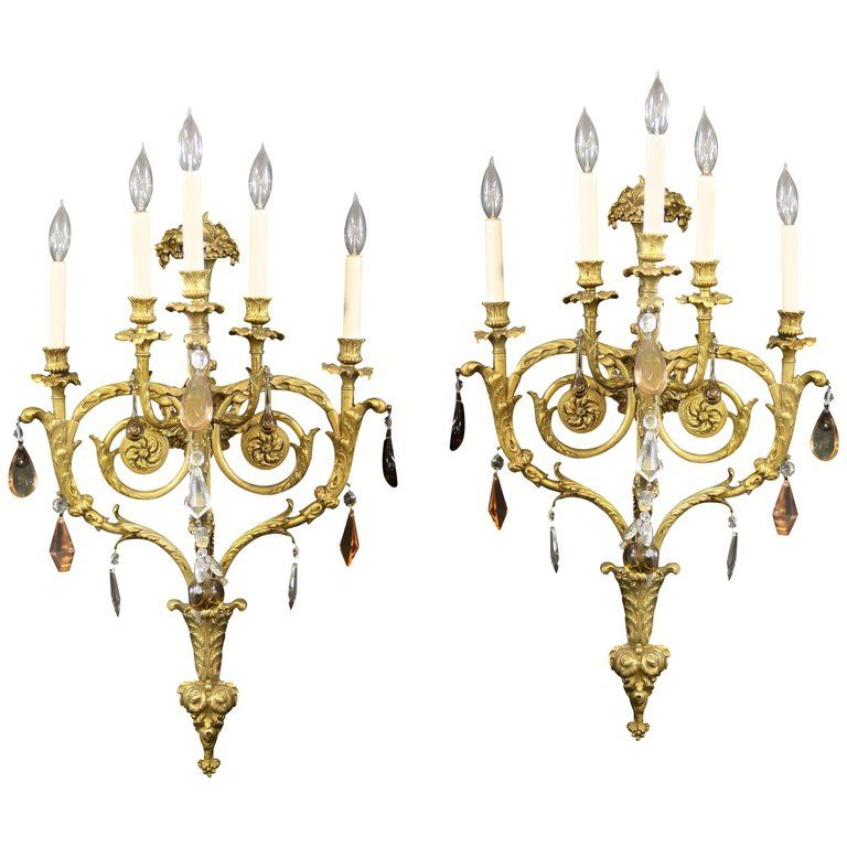 Fine Pair Of Late 19th Century Gilt Bronze And French Crystal Five Light Sconces In 2019 Products Sconce Lighting Sconces Lighting