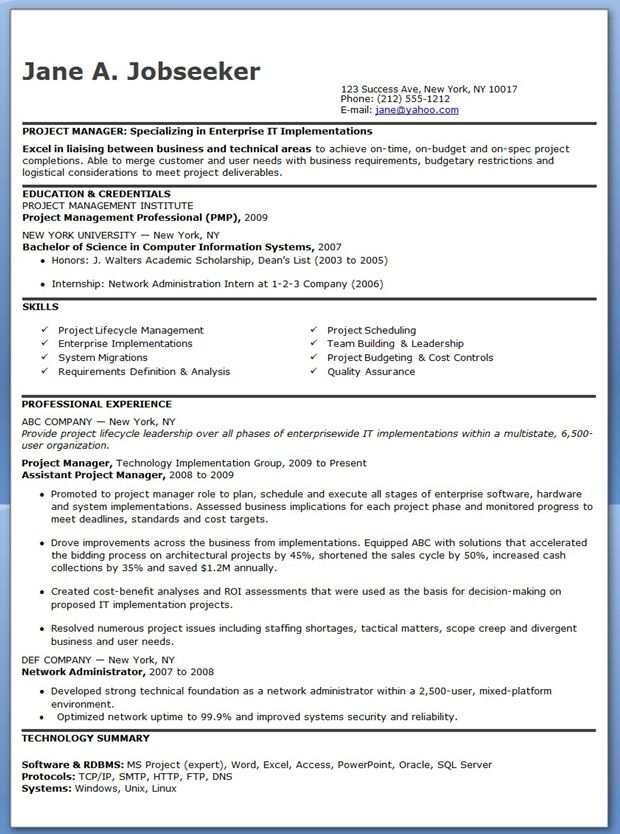 Entry Level It Project Manager Resume Creative Design