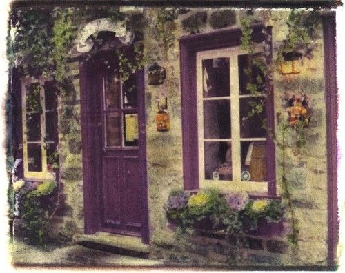 Canada Quebec City Purple Door Windows by cherielester & Love the cottage look purple trim window boxes.... everything ...