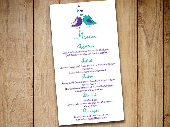 Diy Wedding Menu Template Instant Printable Love Bird Bride Groom Regency Purple