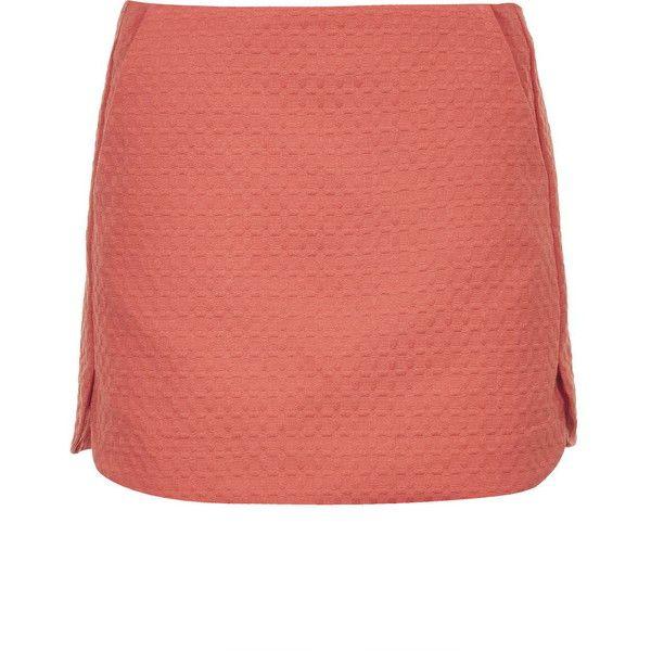 TOPSHOP Textured Curved Hem Pelmet Skirt (40 CAD) ❤ liked on Polyvore featuring skirts, tangerine, pin skirt, red skirt, red cotton skirt, topshop y cotton skirt