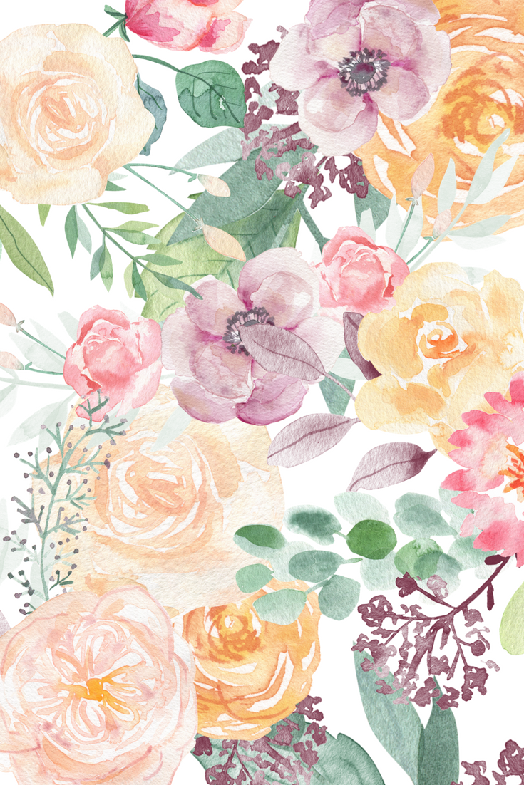 This Watercolor Spring Flowers Set Includes 8 High Quality Hand