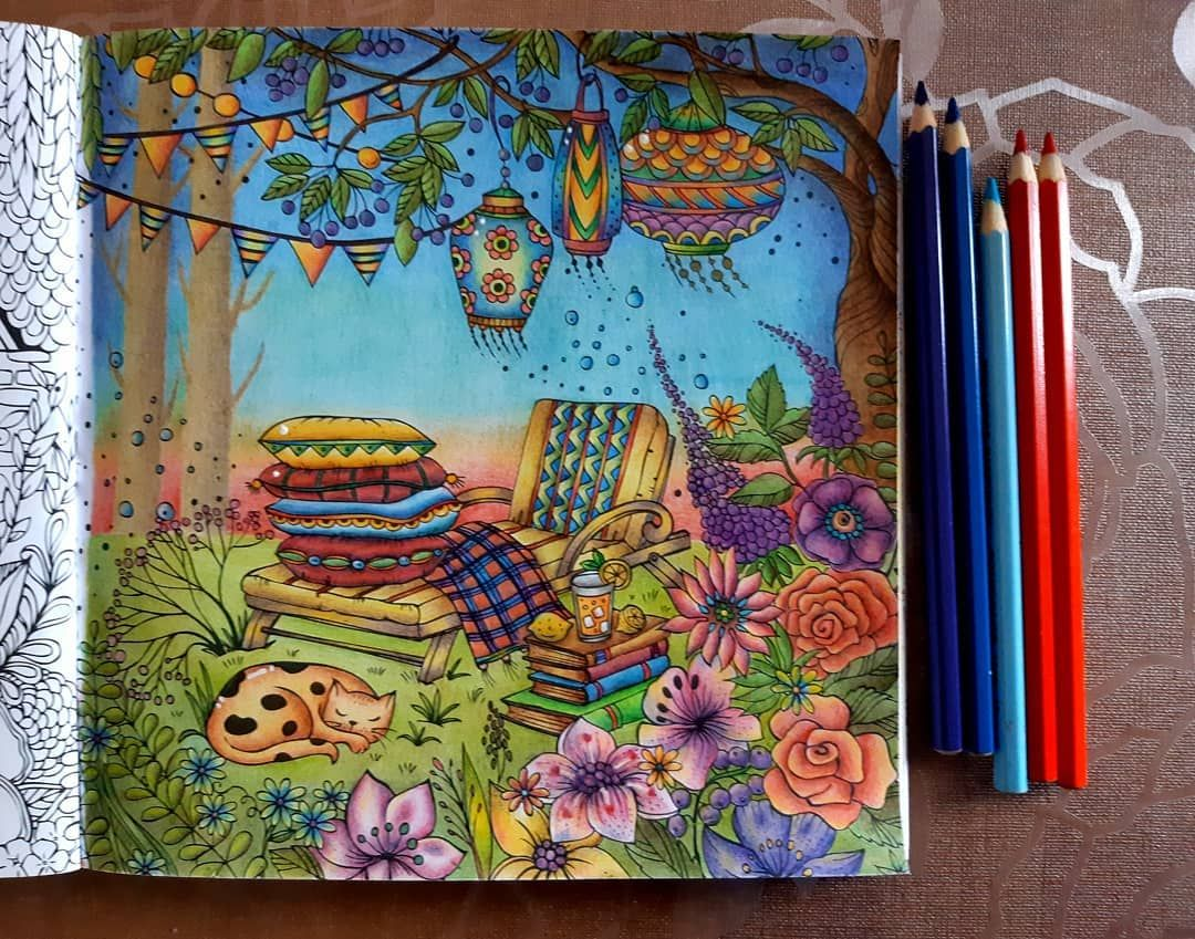 Drado On Instagram Page From Fantastic Mein Sommerspaziergang By Rita Berman Colored With Koh I Noor Polycolo Colorful Drawings Pen Art Work Colored Pencils