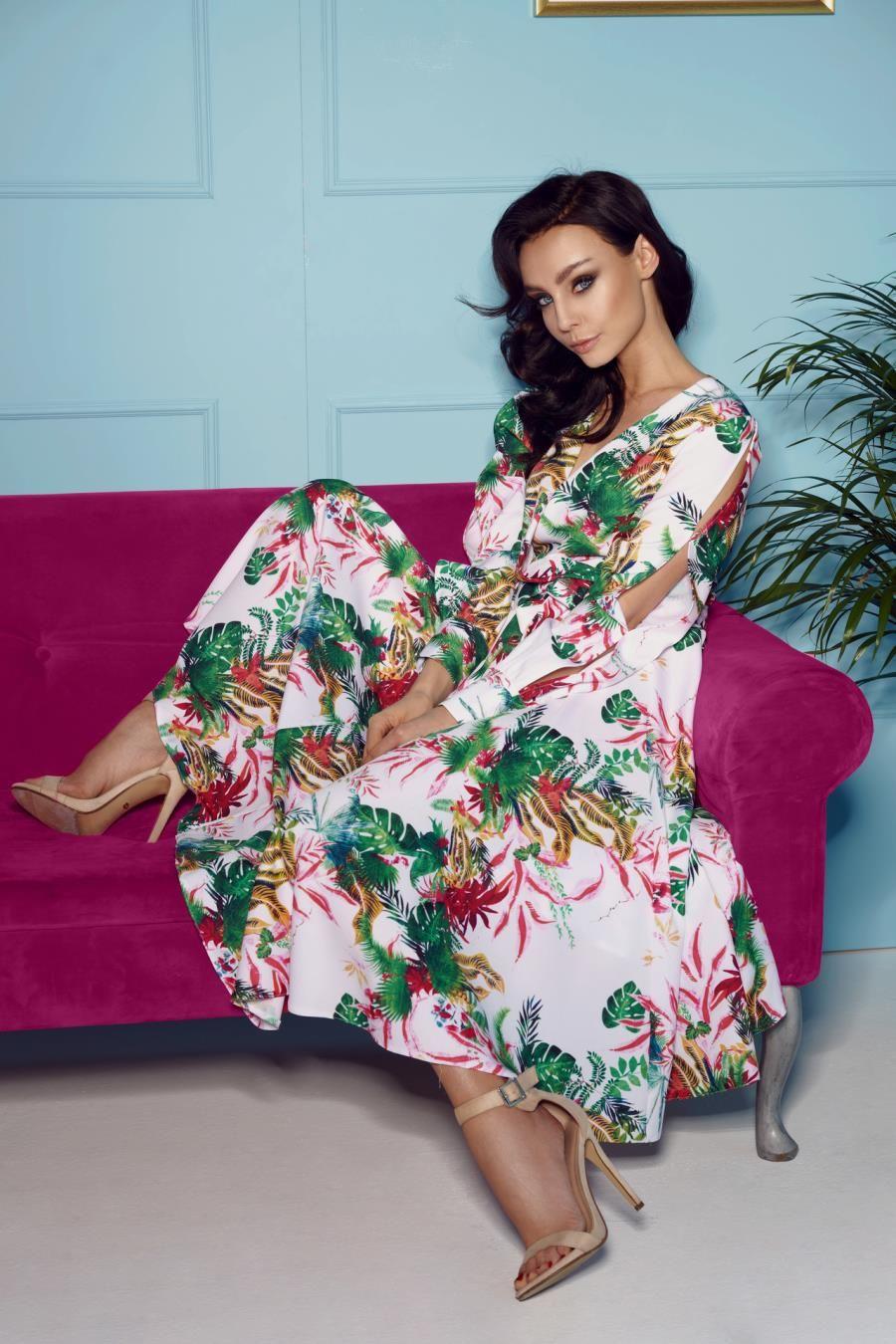 Midi Sukienka Z Kopertowym Dekoltem Biala W Kwiaty Lel302 Dresses Tropical Print Dress Midi Dress Chic