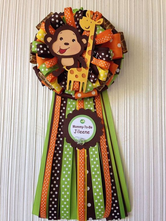 Perfect This Cute Handmade Baby Shower (Mommy) Corsage, Monkey And Giraffe Is Made  With Stock Card Paper. Diameter Of Bow Approx. 7 1/2 Total Length Of