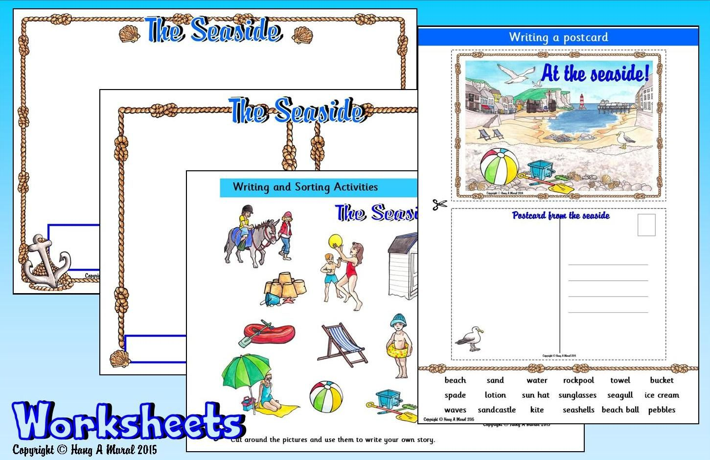 Seaside Worksheets Free Sample Download At Hang A Mural Cut Amp Paste Seaside Pictures