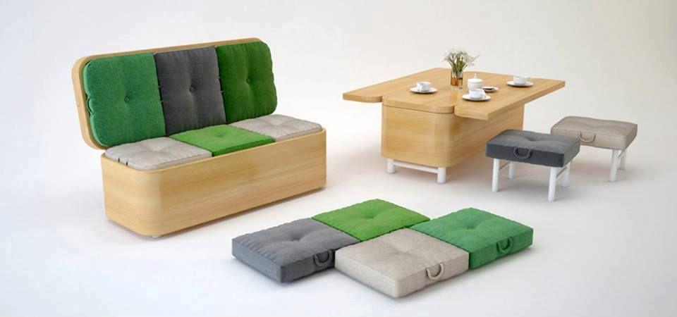 Quem teria um na sala de #casa? A designer Julia Kononenko projetou um #sofá que também pode ser mesa que acomoda 2 pessoas sentadas e 4 mini #puffs. #decoração