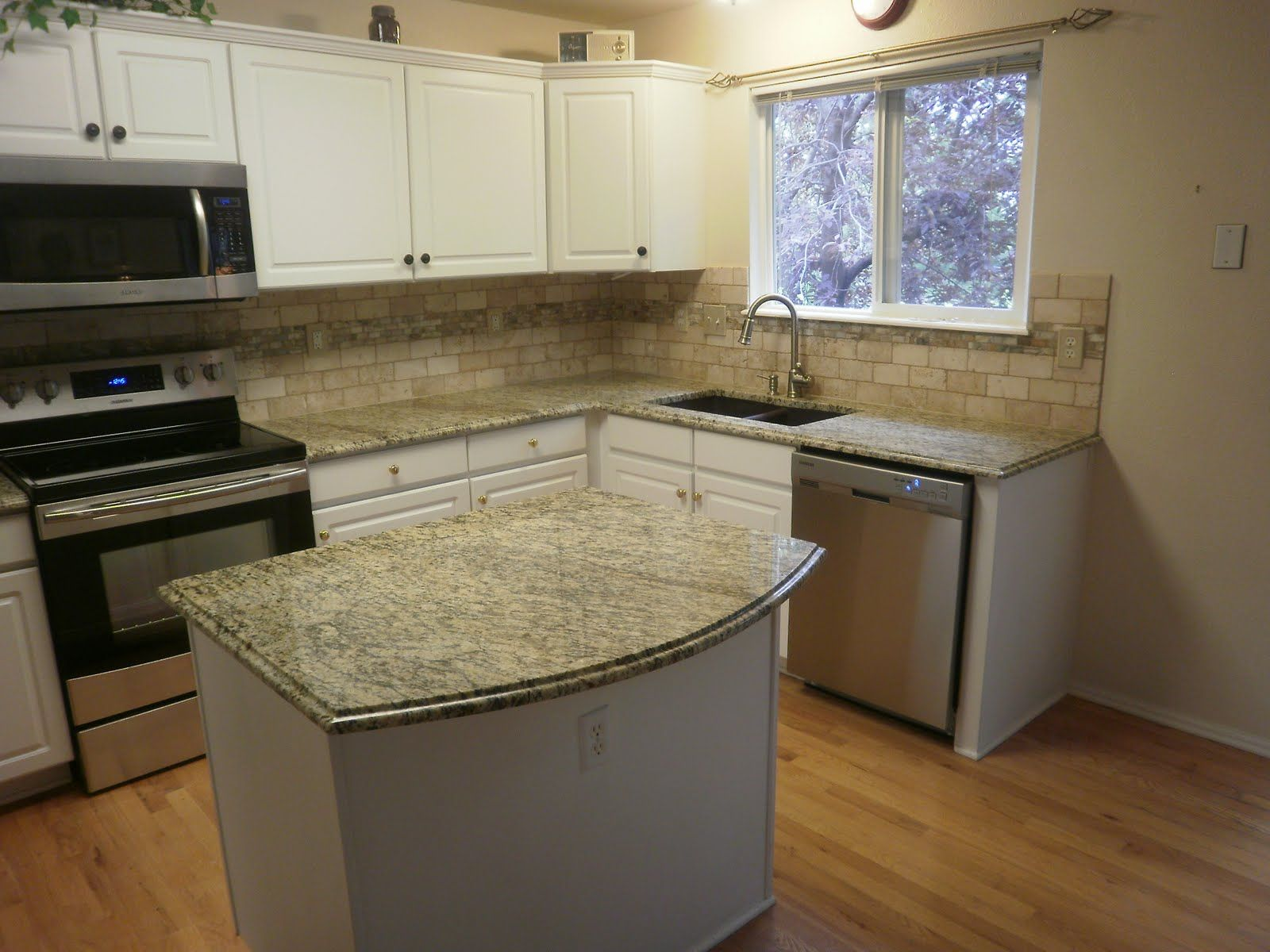 Countertops And Backsplashes | ... Santa Cecilia Granite Countertops And  Travertine/onyx Backsplash