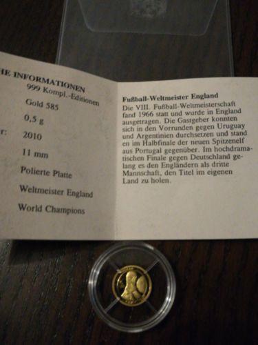 Fußball Weltmeister England Großbritann 5851000 05g Pp Münze