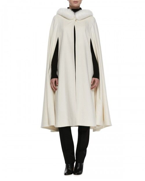 Sofia Cashmere Long Cape with Fox Fur Trim White | Coat, Jacket, Cloak and Clothing