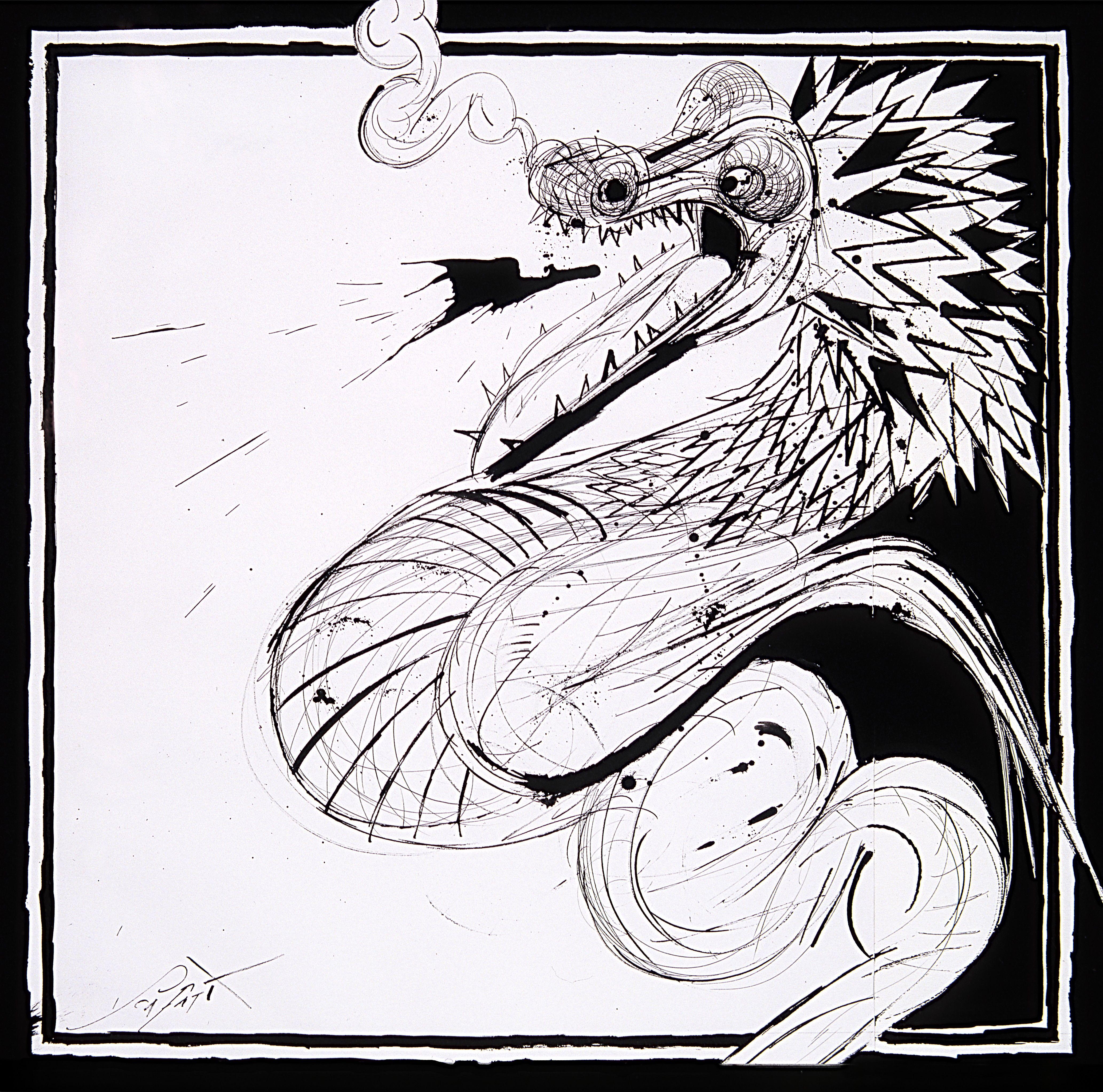 Scafatti, Luis: Munchi Pupunchi - Dibujo, tinta sobre papel (30 x 30 cm)