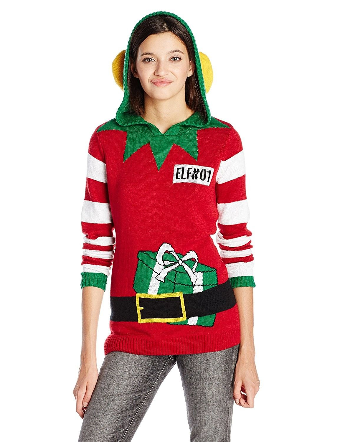 Ugly Christmas Sweater Juniors Elf Hoodie Pullover - Cayenne ...