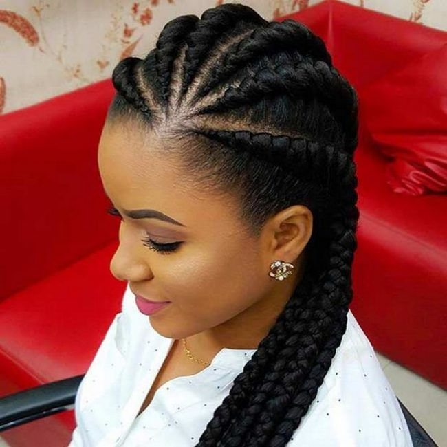 African American Braided Hairstyles Simple Top Braid Hairstyle For African American Women On Christm…  My