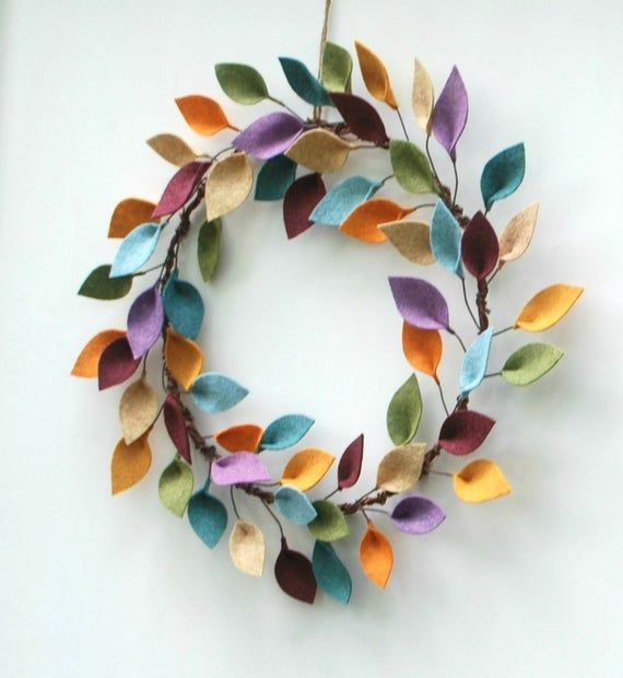 Minimalist Fall Wreath - Autumn Wool Felt Leaf Wreath - 16 Outside Diameter - As Seen in HGTV Magazine - Made to Order #seasonsoftheyear