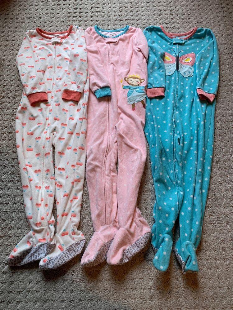 f6f2aeda2 Lot Of 3 Carter s Toddler Girl Fleece Footed Pajamas Sleepwear 4 4T ...
