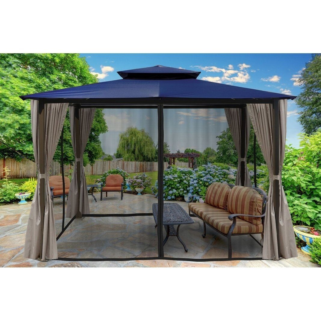 Lima 10 X 12 Gazebo With Mosquito Net And Curtain Brown Paragon Aluminum Gz584enk2 Gazebo Outdoor Gazebos Aluminum Gazebo