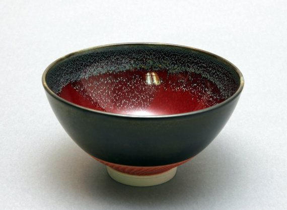 Wheelthrown Porcelain Bowl with Red Glaze and by hsinchuen on Etsy, $75.00