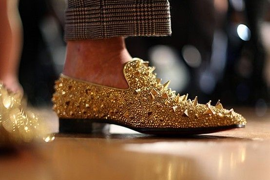 7f4672d385d Christian Louboutin gold spiked shoes for men.. glamazona