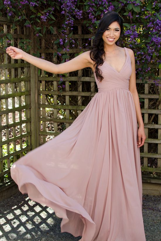 Floor length blush bridesmaid gown from franssical.com