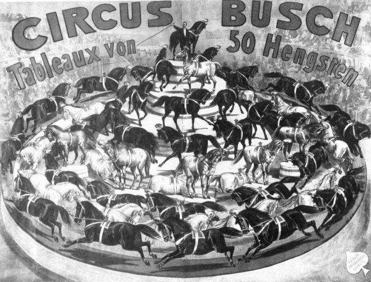 Berlin Werbeplakat Circus Busch 50 Hengste Um 1900 Tableau