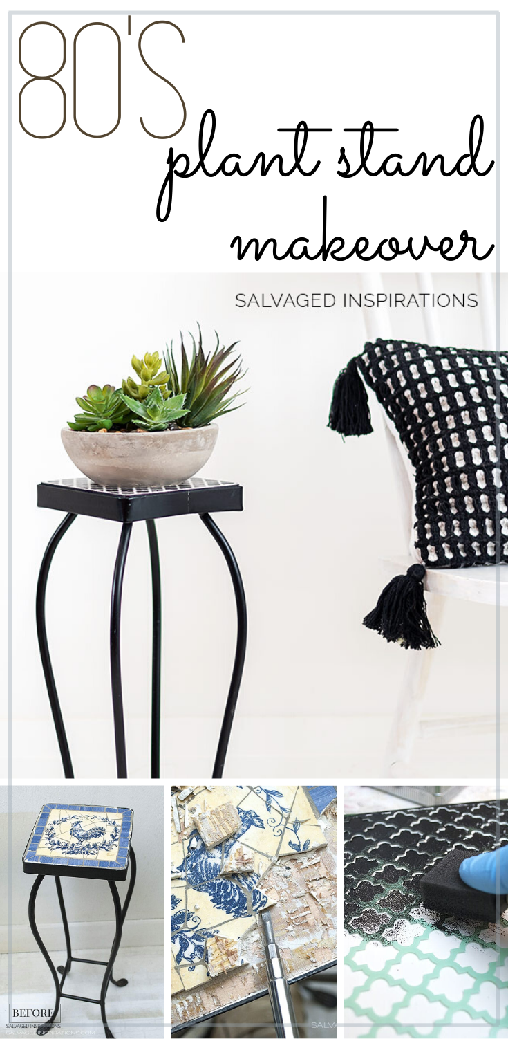 80's Plant Stand Makeover | Fun and Easy Plant Stand Makeover | Salvaged Inspirations  #siblog #salvagedinspirations #paintedfurniture #furniturepainting #DIYfurniture #furniturepaintingtutorials #howto #furnitureartist #furnitureflip #salvagedfurniture #furnituremakeover #beforeandafterfurnuture #paintedfurnituredieas #dixiebellepaint #redesignwithprima