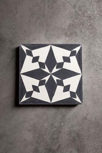 Handmade Concrete Tile - Black Pole