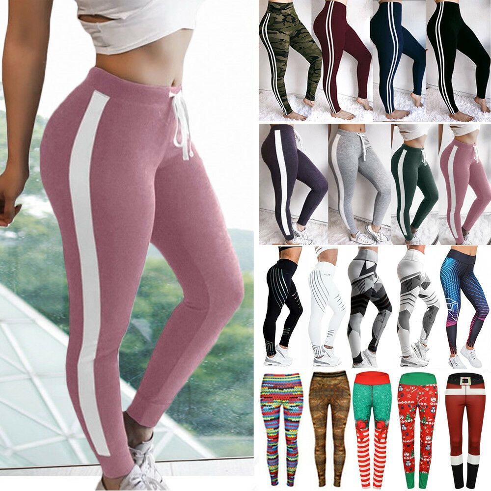 d54b74e3173 Women High Waist Sports Yoga Pants Print Fitness Gym Leggings Stretch  Trousers P