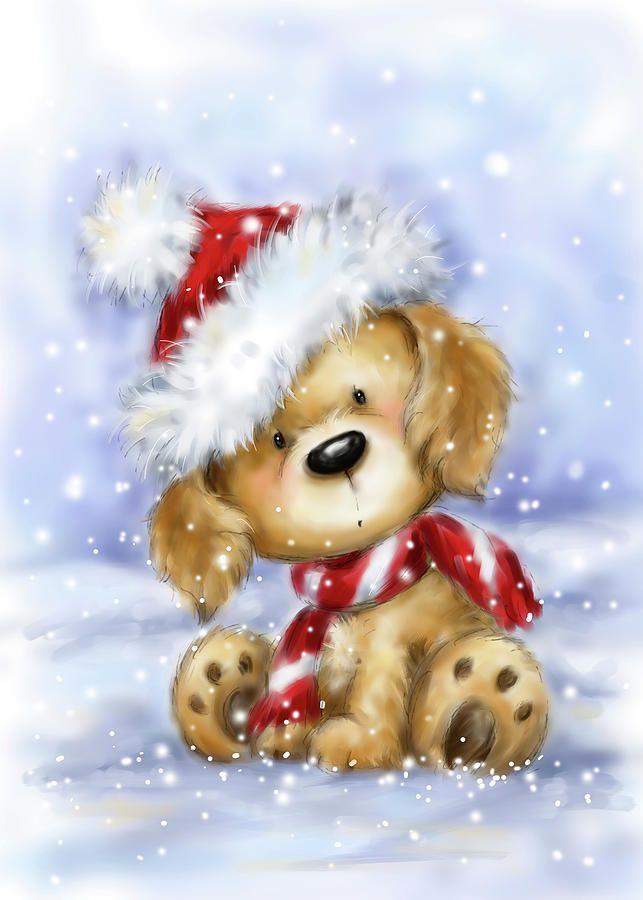 Dog With Santa's Hat 1 by Makiko