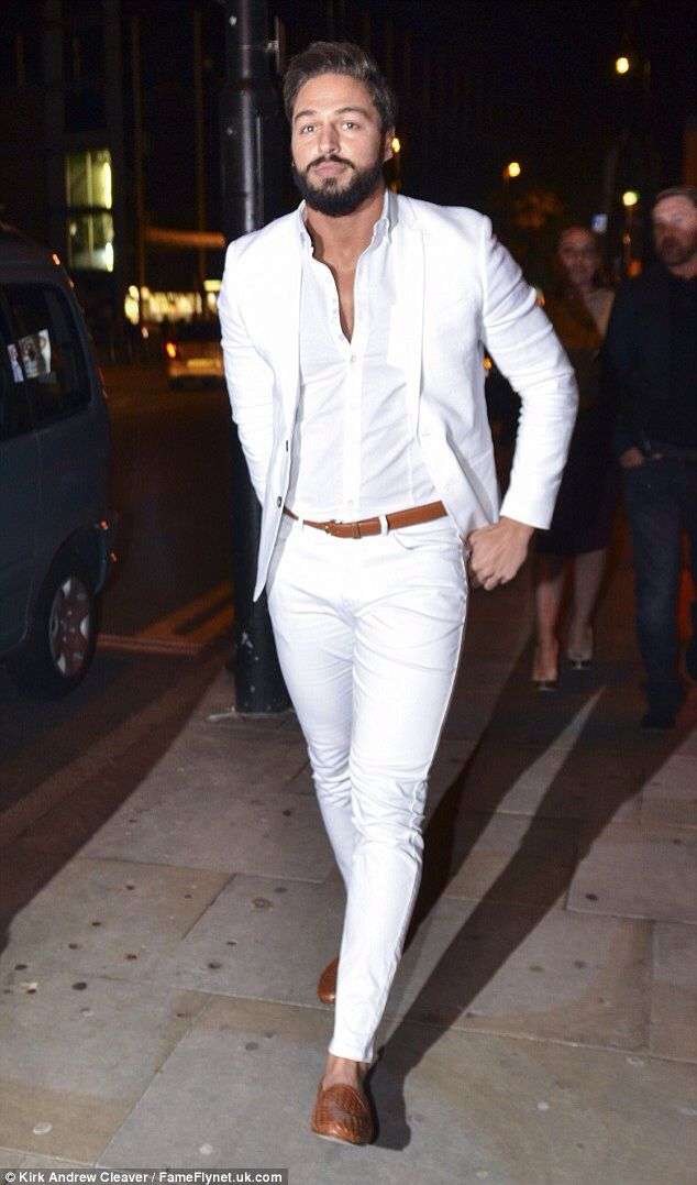 #Whiteout Men's Casual Suit Outfit with a Beige Accent Added By the Belt  and Shoes