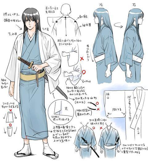 image result for correct way to draw kimono art pinterest