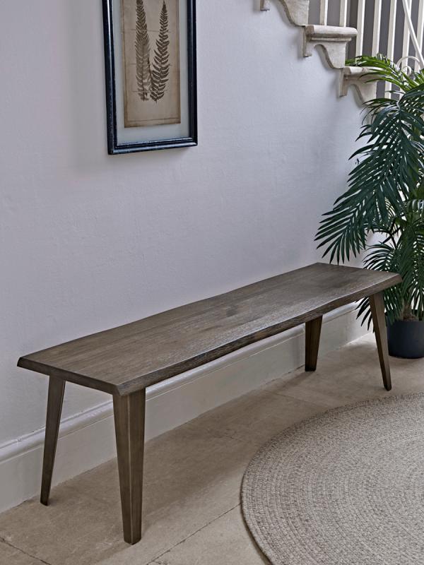 Java Dark Oak Bench Indoor Benches Wooden Upholstered