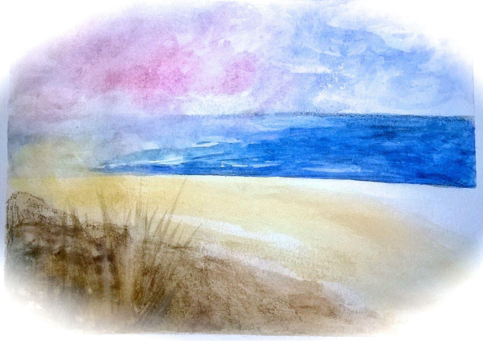 Beach scene   Watercolor and Graphite