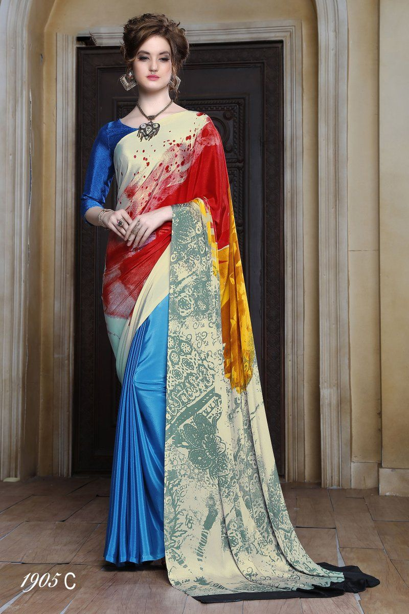 Azure Blue With Multi Color Printed Sa  indian dresses