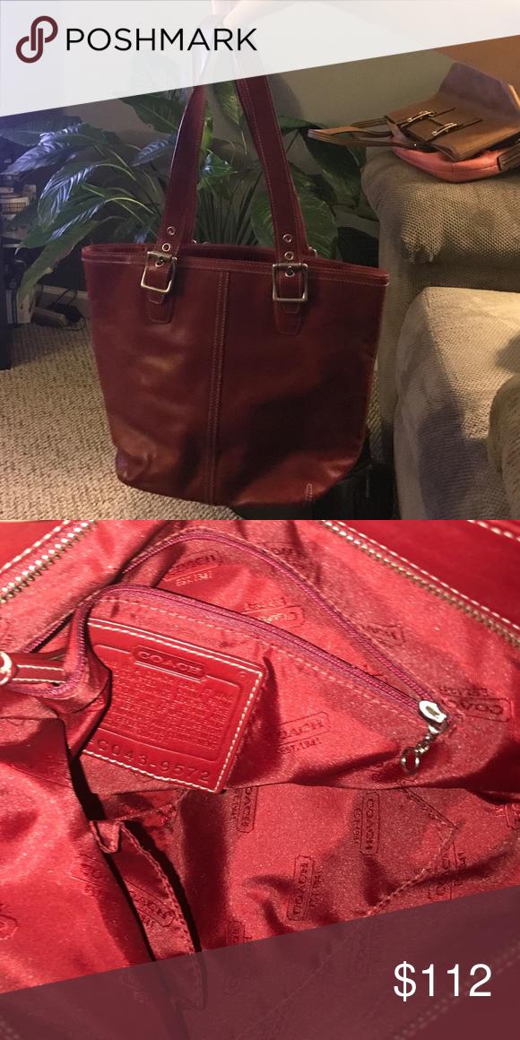 "COACH leather handbag Maroon leather. No markings. Smoke free home. Zipper closure. 10 1/2 "" straps. Coach Bags Mini Bags"