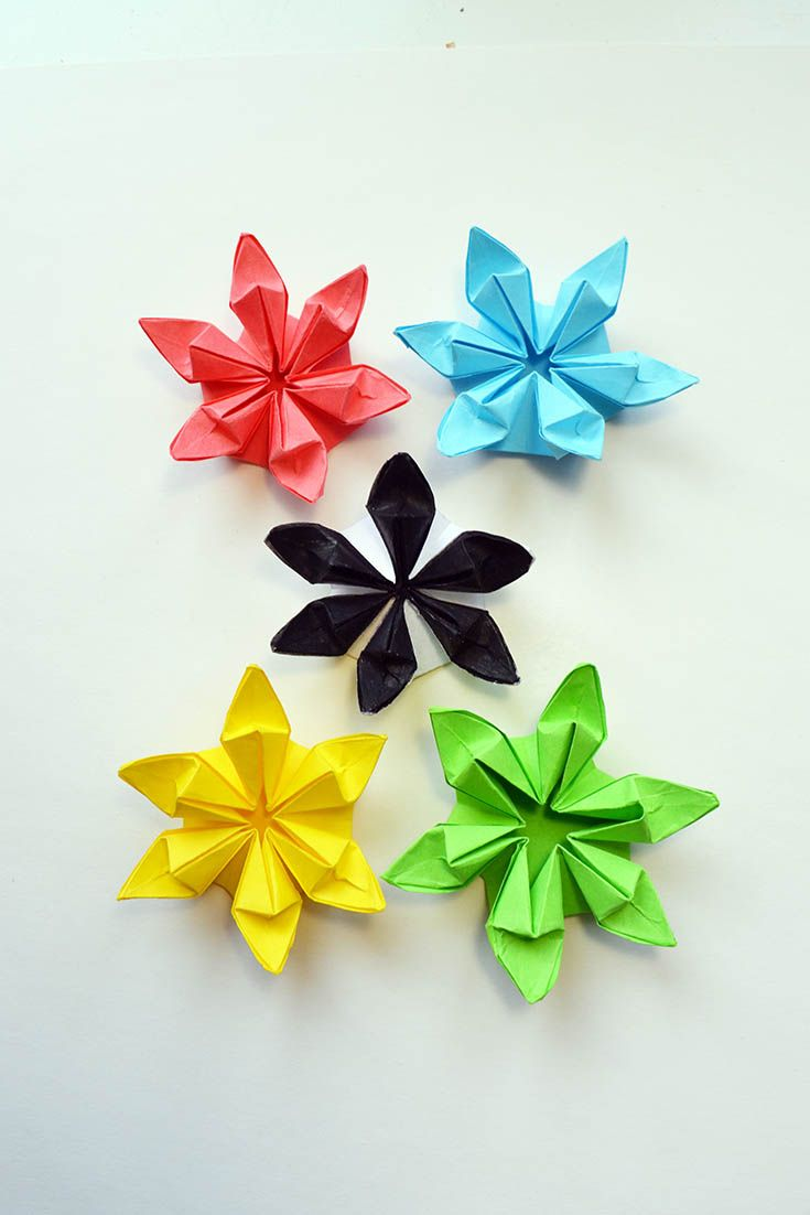 Beautiful Colored Flowers Paper Origami Folding Tutorial Diy In This