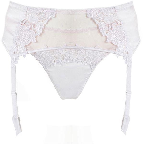 Suspender Belt - Garter Belt - Bridal Lingerie (265 BRL) ❤ liked on Polyvore featuring intimates, bridal lingerie, white garter belt, silk lingerie, suspender belt and bride lingerie
