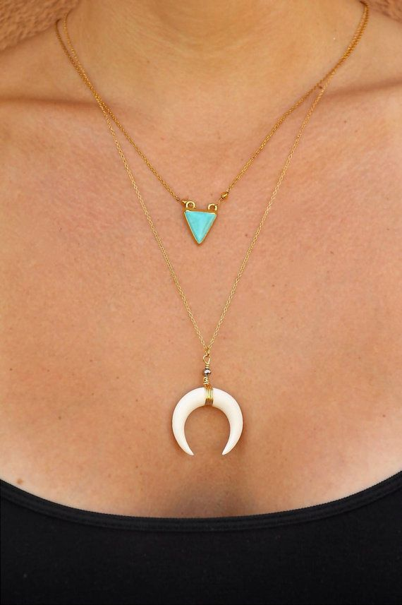 Double Horn Necklace, 18k Gold Plated Chain, Crescent Moon Charm, Boho, Bone