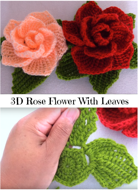 3d rose flower with leaves | CROCHET | Pinterest