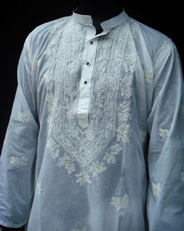 Indian Embroidered Sarees: White Mens Long Kurta Shirt Salwar Holiday Gift Handmade