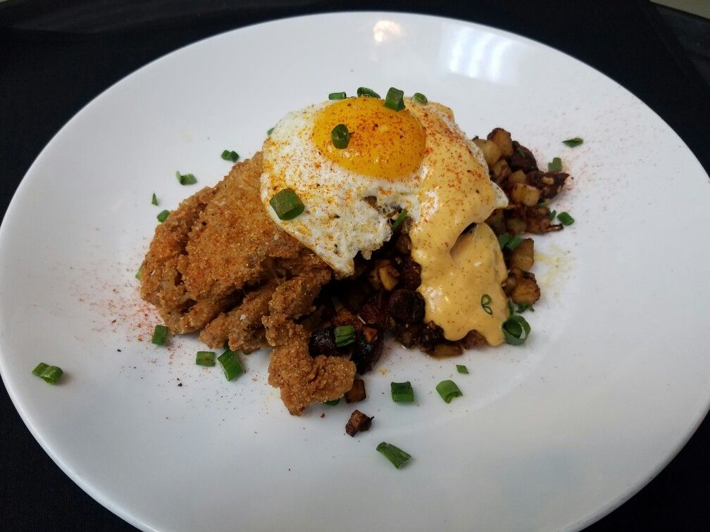 Caramelized Andoullie Hash, Soft Shell Crab, Up Egg topped with Chipotle Hollandaise