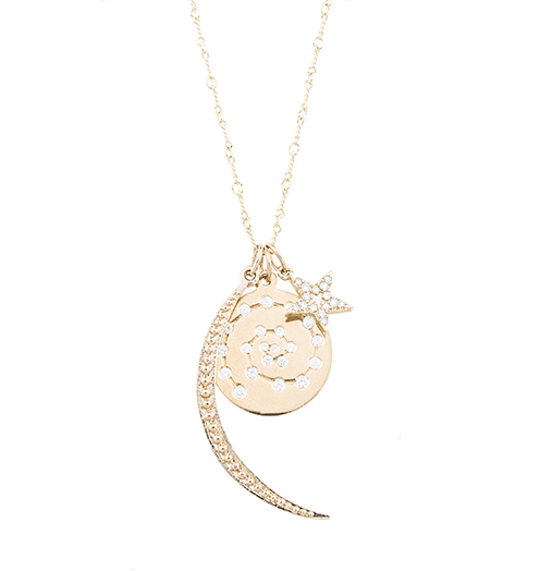 Celestial with crescent moon, star, and spiral charms with diamonds and gold by Helen Ficalora