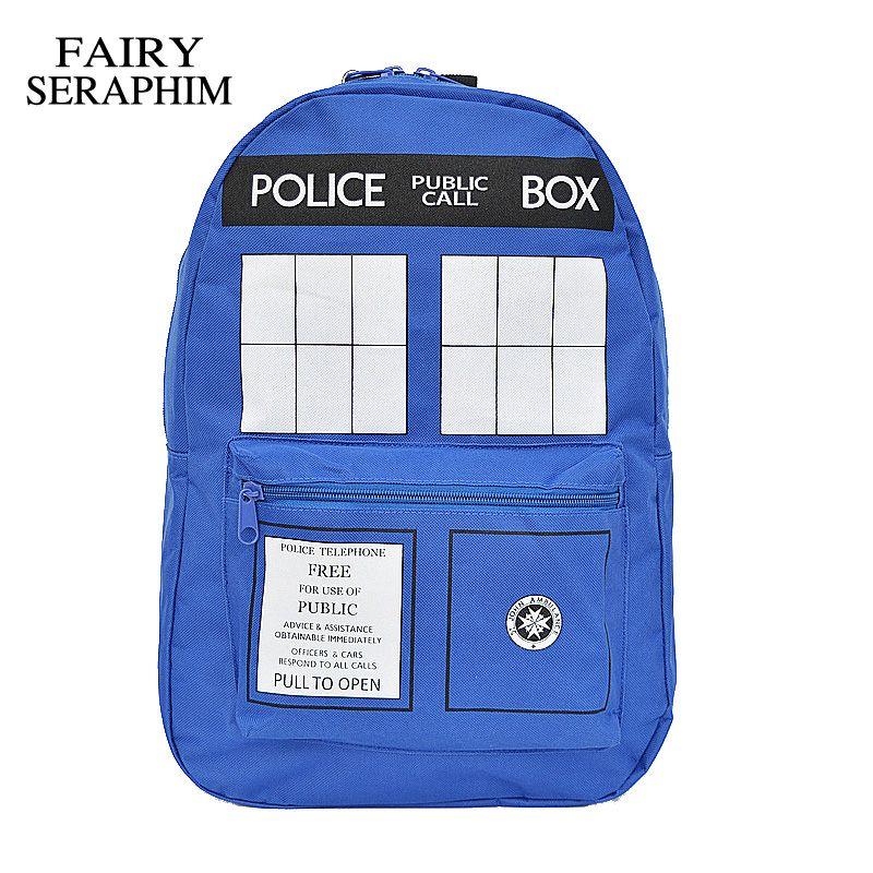 ff395944d124 FAIRY SERAPHIM Fashion Doctor Who Tardis cartoon student school bag ...