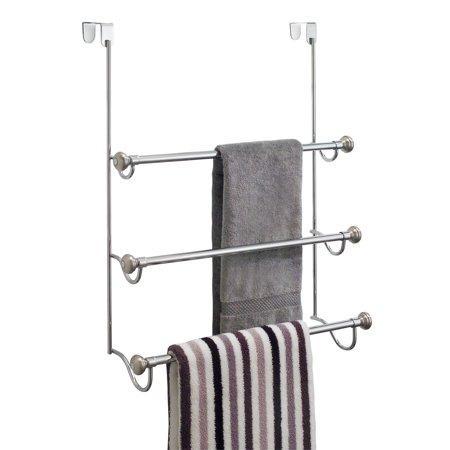 Interdesign York Over The Shower Door Towel Rack For Bathroom Chrome Brushed Walmart Com Towel Rack Bathroom Bath Towel Racks Towel Rack
