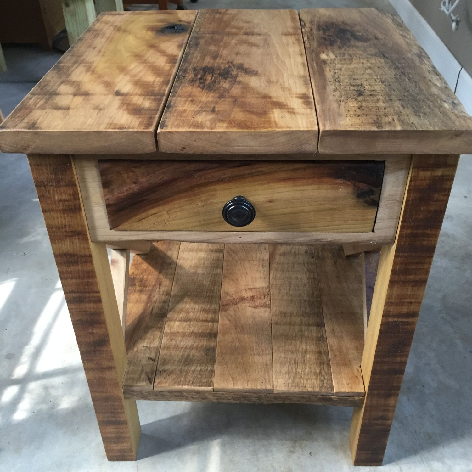Incredible Rustic Reclaimed Barnwood End Table By Crookedtreewoodcraft Interior Design Ideas Gentotryabchikinfo