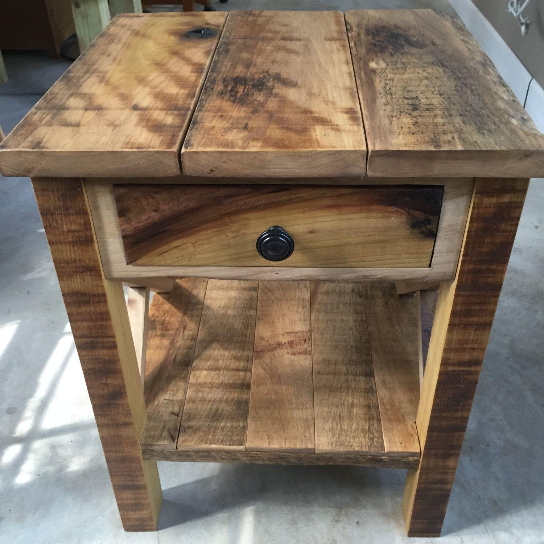 Rustic Reclaimed Barnwood End Table
