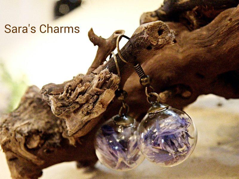 Ohrringe bronze mit Kornblume von Sara´s Charms auf DaWanda.com