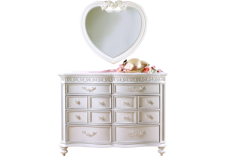 Disney Princess White Dresser Heart Mirror Set Heart Mirror Disney Furniture Shabby Chic Dresser
