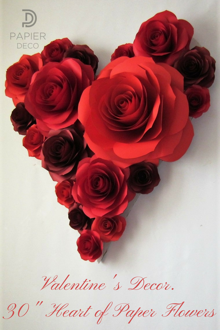 Valentines Day Decor Heart Of Large Paper Flowers Valentine S Day